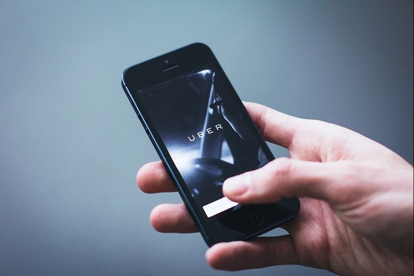 The Uber app opening on a mobile phone