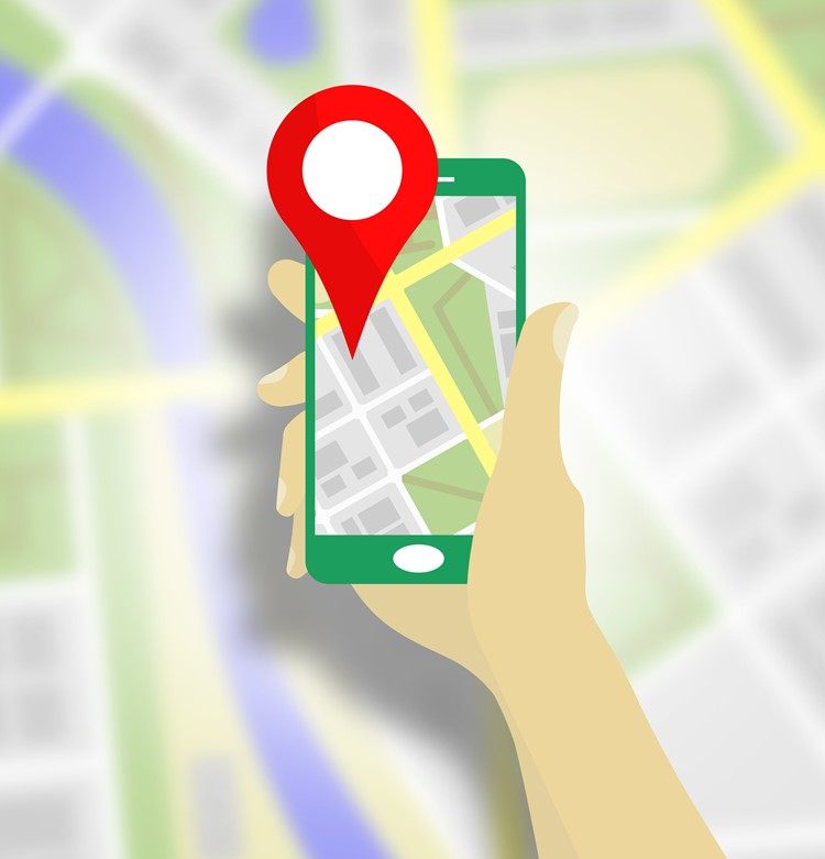 An animation of someone holding a phone with maps open
