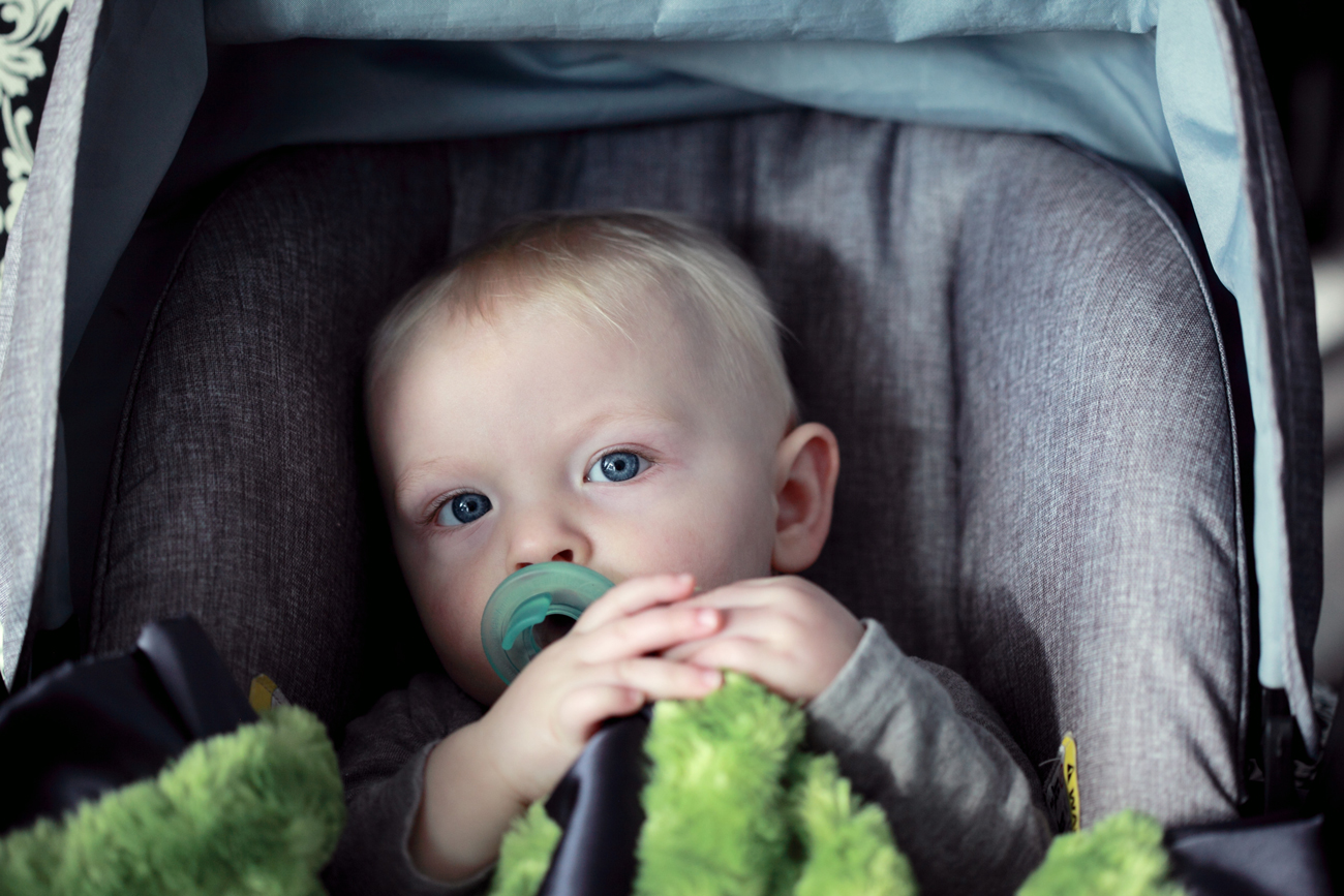 A young child in a car seat